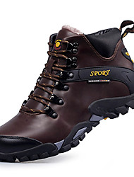 cheap -Men's Boots Comfort Snow Boots Fashion Boots Light Soles Fall Winter Real Leather Athletic Casual Outdoor Lace-up Flat Heel Black Dark