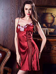 Feminino Lingerie com Renda Super Sensual Roupa de Noite Sólido,Fina Rosa Vinho
