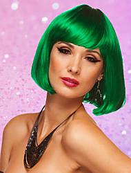 Women's Cosplay Party Synthetic Fiber Short Straight GreenWhitePinkBob Hair Full Wig