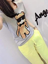 abordables -Mujer Vintage Noche Verano T-Shirt Pantalón Trajes,Escote Redondo Un Color Personajes Manga Corta Espalda al Aire Microelástico