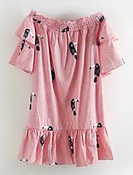 baratos -Mulheres Para Noite Moda de Rua Seda Algodão Solto Reto Vestido Listrado Floral Bordado Decote Canoa Acima do Joelho