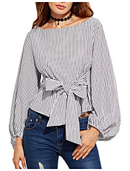 cheap -Women's Simple Cotton Blouse - Striped / Summer / Fine Stripe