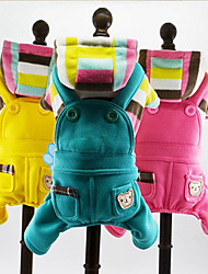 cheap -Dog Hoodie / Jumpsuit Dog Clothes Stripe Yellow / Blue / Pink Plush Fabric Costume For Pets Men's / Women's Casual / Daily