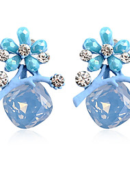 Drop Earrings Women's Fashion Flower Style Light Blue Crystal Rhinestone Earrings For Office & Career Party Daily Movie Jewelry
