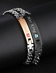 cheap -Titanium steel diamond-studded men and women bracelet valentine's day gift