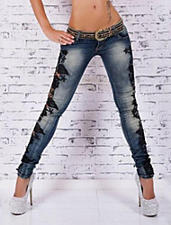 Women's High Rise Micro-elastic Skinny Pants,Street chic Sexy Vintage Skinny Solid