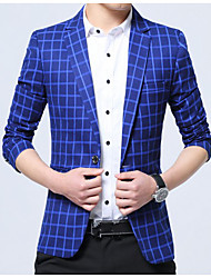 cheap -Men's Daily Simple Casual Spring Fall Blazer,Plaid Notch Lapel Long Sleeve Regular Cotton Polyester