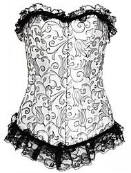 abordables -corset-floral pour femme, crochet et oeil overbust, dentelle