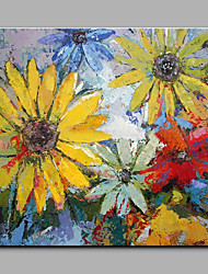 cheap -Big Size Hand-Painted Sunflower Flowers Modern Art One Panel Canvas Oil Painting for Home Decoration Unframed
