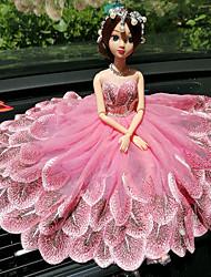 abordables -Diy ornements automobiles créative mode de dessin animé barbie poupée en dentelle mariage lumière en poudre princesse voiture