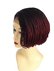 cheap -8inch 1b buf Box braids bob wig natural wig Box Braid Wig with Bangs synthetic braiding hair wigs 1pc