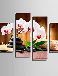 cheap -E-HOME Stretched Canvas Art Orchid And Stone Decoration Painting Set Of 4