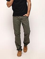 abordables -Hombre Algodón Corte Recto / Chinos Pantalones - Un Color