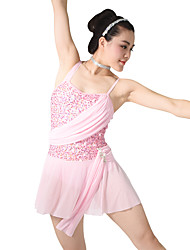MiDee Ballet Dresses Women's Children's Training Spandex Sequined Ruffles Sequins Sleeveless Natural