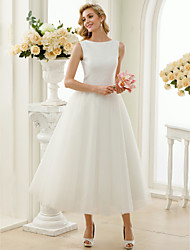 cheap -A-Line Princess Bateau Neck Tea Length Sequin Tulle Wedding Dress with Sequins by LAN TING BRIDE®