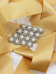 cheap -Satin/ Tulle Wedding Special Occasion Anniversary Birthday Party / Evening Sash With Rhinestone Imitation Pearl Appliques Sashes