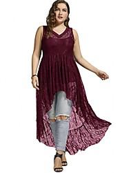 cheap -Women's Plus Size Sheath Dress - Solid Colored Lace High Rise Asymmetrical V Neck