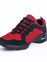 Non Customizable Women's Dance Shoes Breathable Mesh Dance Sneakers / Modern Sneakers Low Heel Outdoor Black/Red