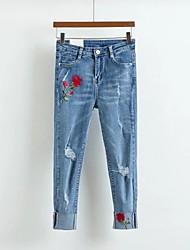 economico -Da donna A vita medio-alta Moda città Media elasticità Taglia piccola Jeans Pantaloni,Tinta unita Ricamato Seta Cotone Acrilico Primavera