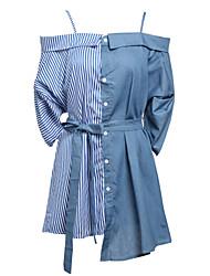 abordables -Mujer Vaina Vestido Trabajo Un Color Estampado Con Tirantes Hasta la Rodilla Sobre la rodilla Sin Mangas Algodón Primavera Tiro Medio