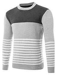 cheap -Men's Daily Sports Going out Casual Cut Out Color Block Round Neck Pullover, Long Sleeves Winter Fall Wool