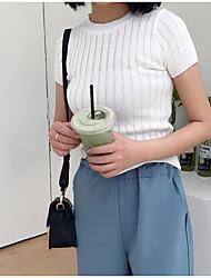 Standard Pullover Da donna-Per uscire Tinta unita Girocollo Manica corta Poliestere Estate Sottile Media elasticità