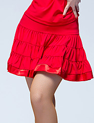 cheap -Latin Dance Bottoms Women's Performance Ice Silk Ruffles Natural Skirts