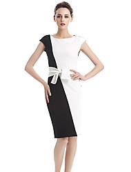 abordables -Moulante Gaine Noir et blanc Robe Femme Soirée Travail Grandes Tailles Sexy Vintage,Couleur Pleine Col Arrondi Mi-long Sans ManchesCoton