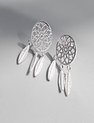 Femme Boucles d'oreille goujon Géométrique Amitié Mode Hypoallergique Simple Style Argent sterling Attrapeur de Rêve Bijoux Pour