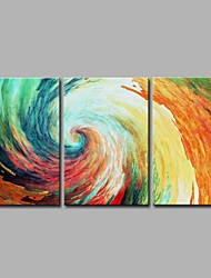cheap -Hand-Painted Abstract Horizontal Panoramic, Artistic Abstract Modern/Contemporary Office/Business Cool Christmas New Year's Canvas Oil