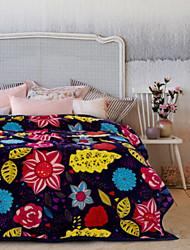 Недорогие -Коралловый флис, С принтом Цветы Полиэстер/хлопок одеяла