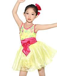 Ballett Kleider Kinder Vorstellung Elastan Polyester Organza Stickereien Schleifen Schärpe /Band Farbeinheit 1 Stück Ärmellos Normal Kleid