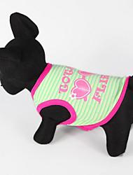 Недорогие -Собака Жилет Одежда для собак В полоску Оранжевый / Пурпурный / Зеленый Хлопок Костюм Для домашних животных Лето Муж. / Жен. На каждый день