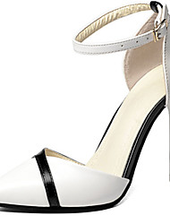 Women's Heels Comfort Spring Summer PU Casual Office & Career Buckle Stiletto Heel White Black 2in-2 3/4in