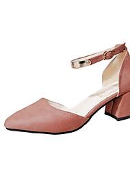 Damen Sandalen Komfort Pumps PU Frühling Sommer Kleid Party & Festivität Schnalle Blockabsatz Schwarz Gelb Rosa 5 - 7 cm