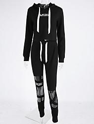 Felpa con cappuccio Pantalone Completi abbigliamento Da donna Sport Vintage Primavera Autunno,Tinta unita Manica lunga