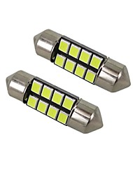 1W White DC12V 36MM Festoon 8SMD 2835 LED Dome Light Rreading Light License Plate Light 2PCS