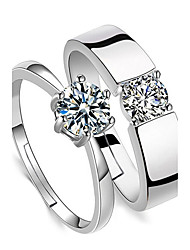 baratos -Casal Zircônia Cubica Zircão Anéis de Casal - Quatro Pontas Básico Prata Anel Para Casamento / Diário / Casual