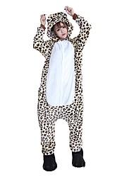cheap -Adults' Kigurumi Pajamas with Slippers Bear / Leopard Onesie Pajamas Costume Flannel Fabric Cosplay For Animal Sleepwear Cartoon Halloween Festival / Holiday / Christmas