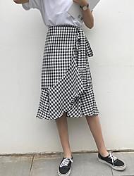 Damen Ausgehen Asymmetrisch Röcke Trompete/Meerjungfrau Muster Sommer