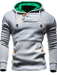 Men's Daily Sports Holiday Hoodie Solid Hooded Micro-elastic Cotton Nylon Long Sleeve Winter Fall