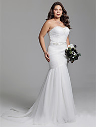 cheap -Mermaid / Trumpet Sweetheart Neckline Court Train Tulle Made-To-Measure Wedding Dresses with Beading / Sashes / Ribbons / Ruched by LAN