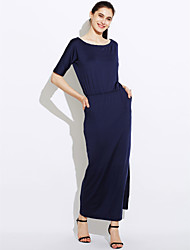 cheap -Women's Dailywear Chic & Modern Sheath Dress,Solid Color Round Neck Maxi Half-Sleeve Polyster Summer Mid Rise Micro-elastic Thin