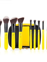 MSQ 10 stcke Gelb/Schwarz Pro Make-Up Pinsel Set Schnheit Tools Puder Lidschatten Blending Foundation Zitrone bilden Kosmetik Kit