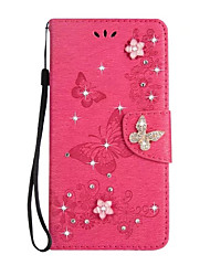 cheap -Case For Sony Xperia XA Ultra Sony Card Holder Wallet Rhinestone with Stand Flip Full Body Cases Solid Color Butterfly Hard PU Leather for
