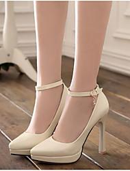 Damen Schuhe PU Sommer Komfort High Heels Für Normal Schwarz Beige