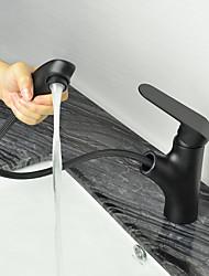 abordables -Robinet lavabo - Avec spray démontable Bronze huilé Set de centre 1 trou