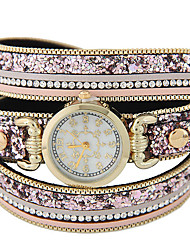 cheap -Women's Quartz Bracelet Watch Hot Sale Leather Band Sparkle Fashion Black Brown Pink