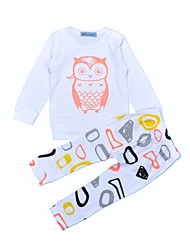 Baby Boy's Cotton Outdoor Casual/Daily Geometic Clothing Set Animal Print Spring/Fall Winter Owl Baby Boys Outfits