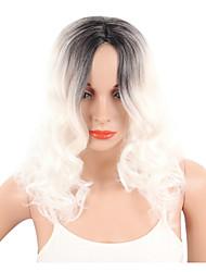 abordables -Pelucas sintéticas Rizado / Ondulado Corte Pixie Pelo sintético Raya en medio / Pelo Ombre Blanco Peluca Mujer Corta Sin Tapa